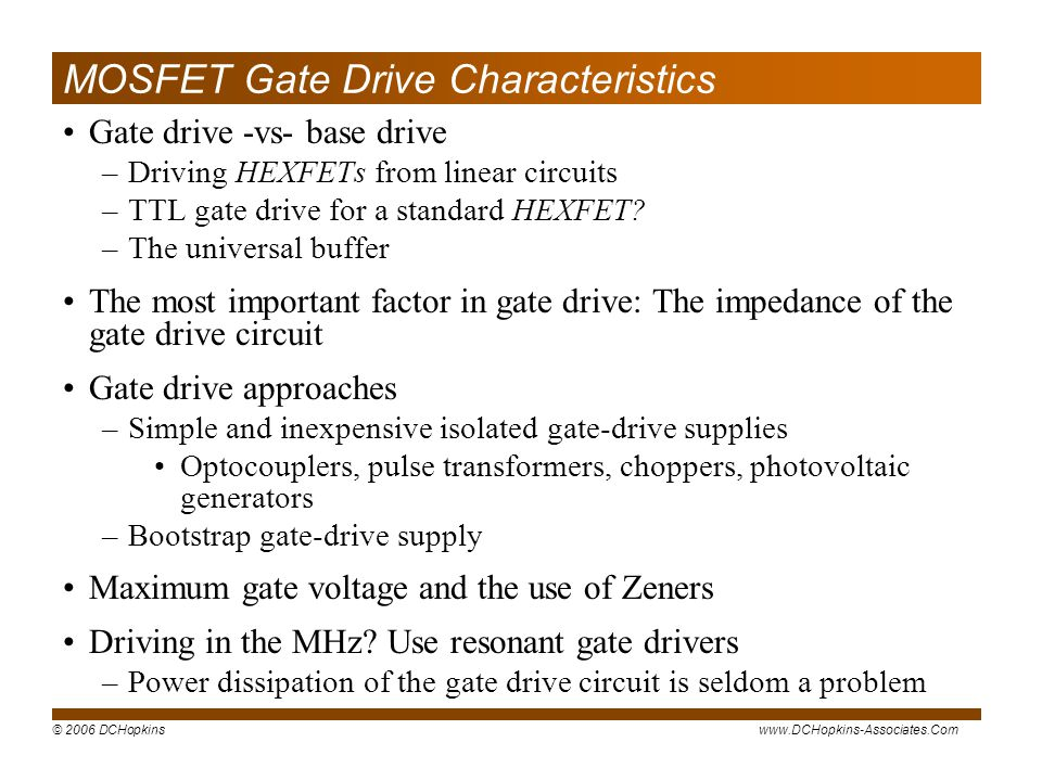 MOSFET Gate Drive Characteristics