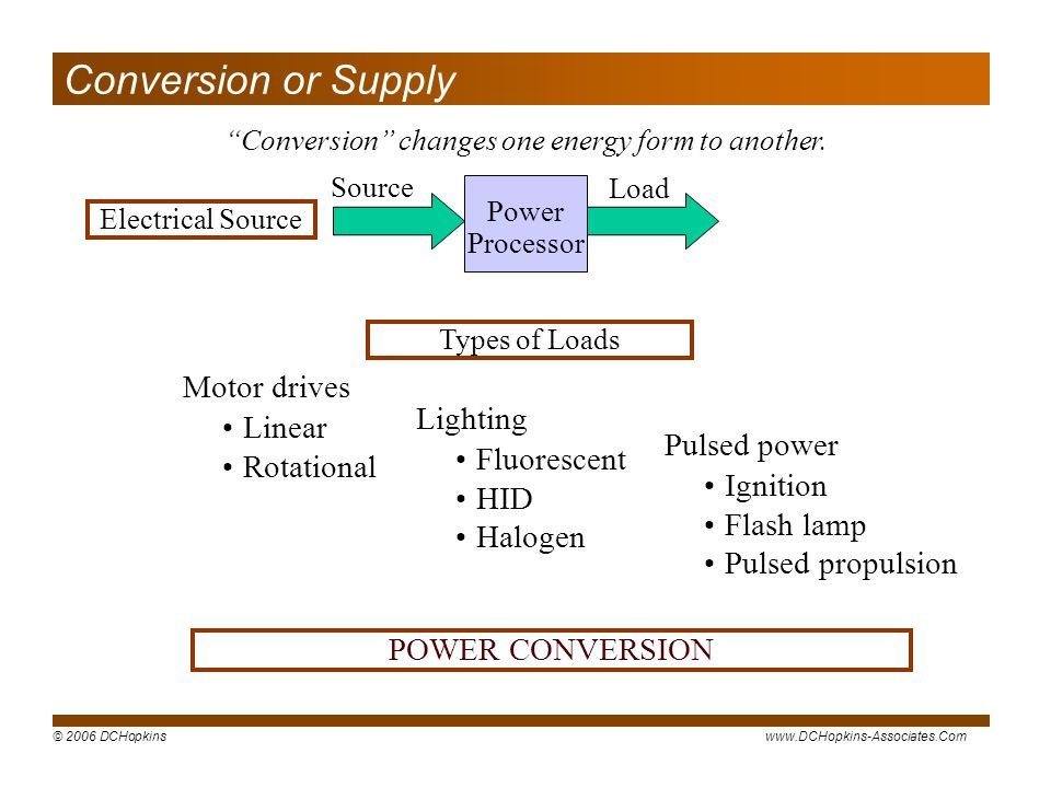 Conversion changes one energy form to another.