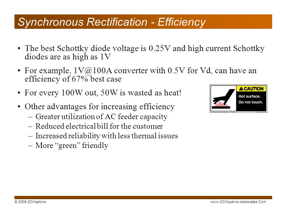 Synchronous Rectification - Efficiency