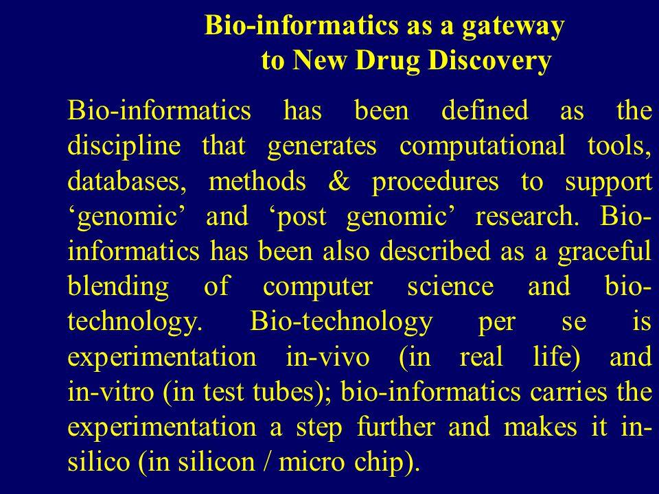 Bio-informatics as a gateway to New Drug Discovery