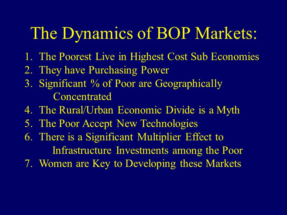 The Dynamics of BOP Markets: