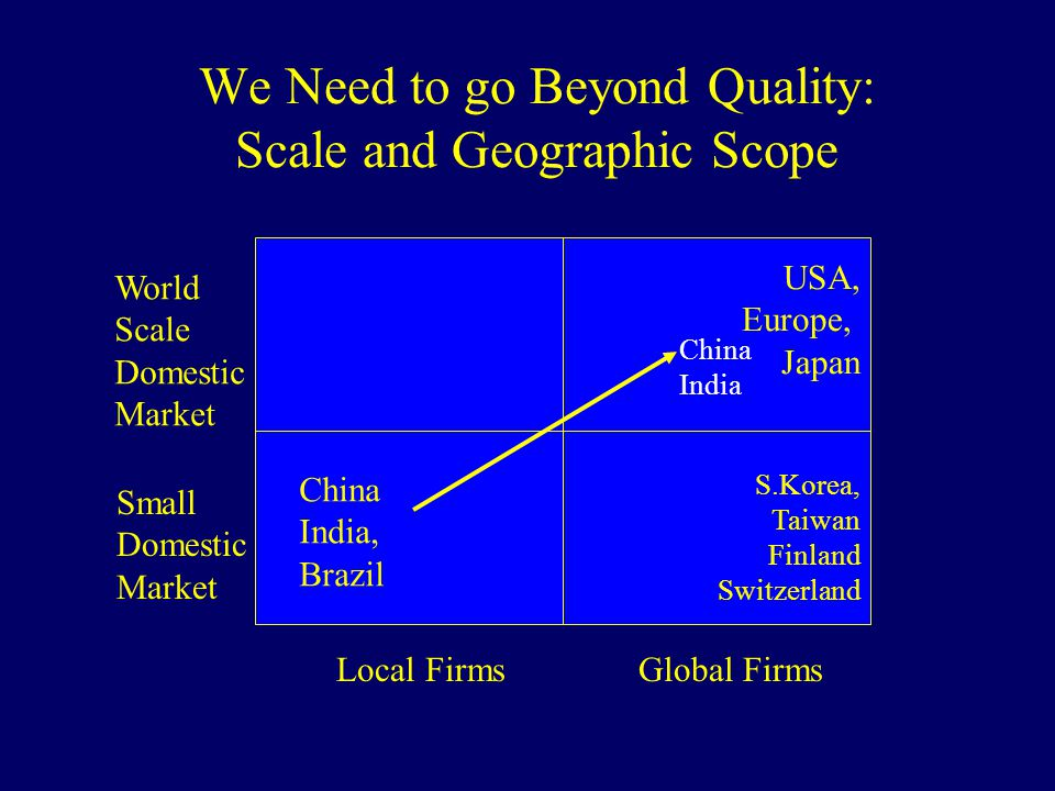 We Need to go Beyond Quality: Scale and Geographic Scope