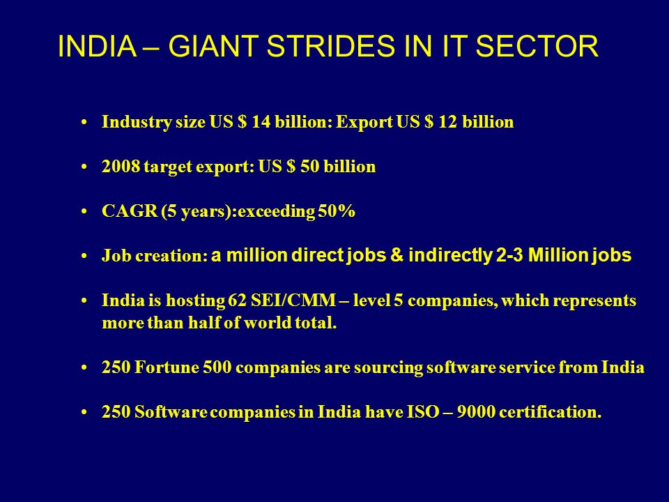 INDIA – GIANT STRIDES IN IT SECTOR