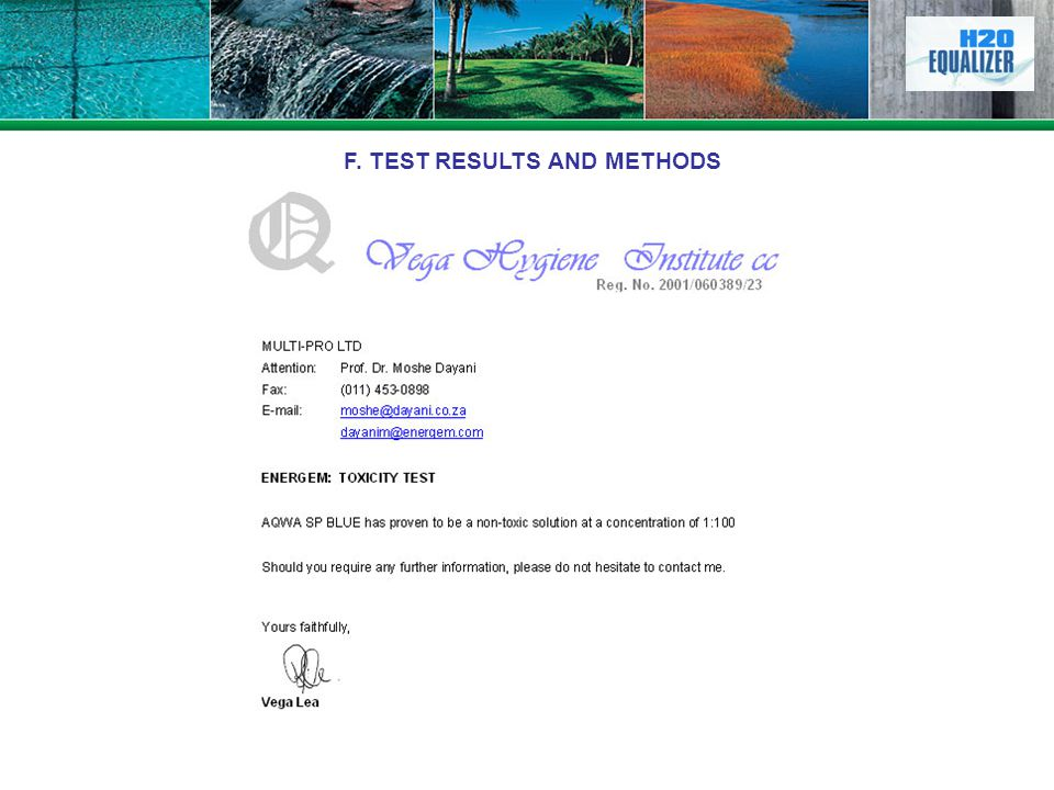 F. TEST RESULTS AND METHODS
