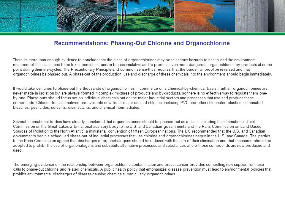 Recommendations: Phasing-Out Chlorine and Organochlorine