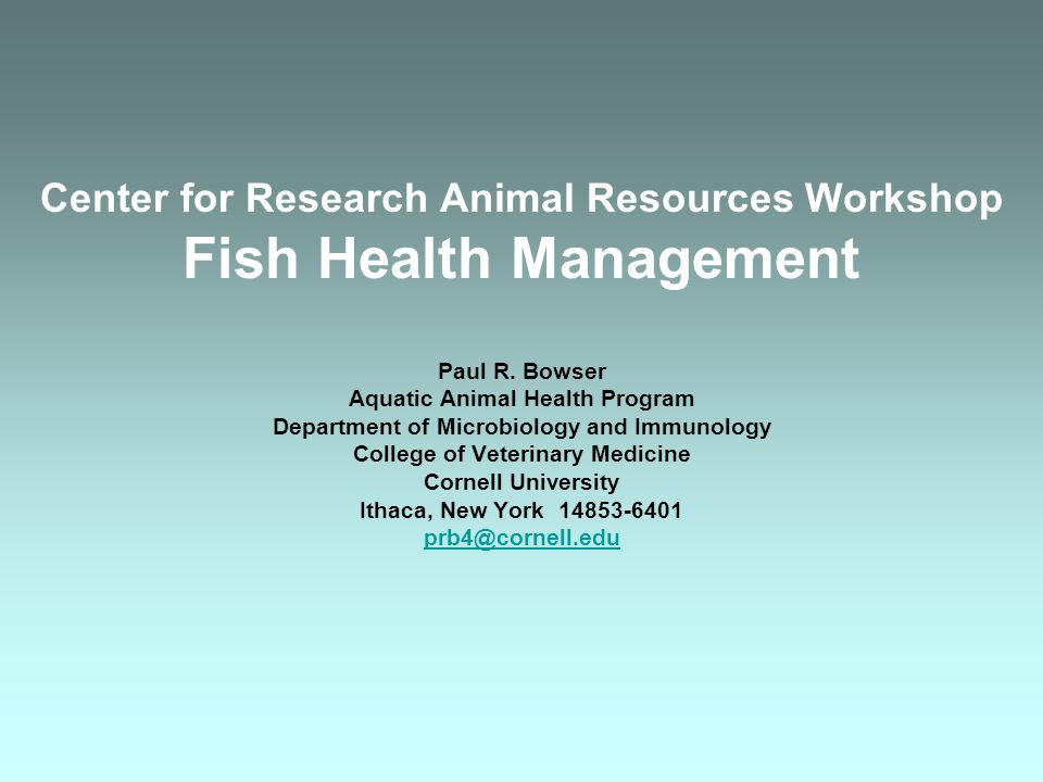 Center for Research Animal Resources Workshop Fish Health Management