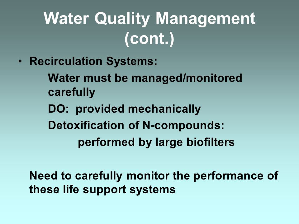 Water Quality Management (cont.)