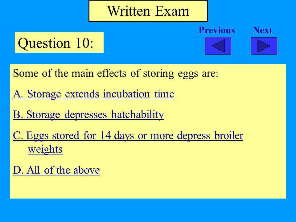 Written Exam Question 10: