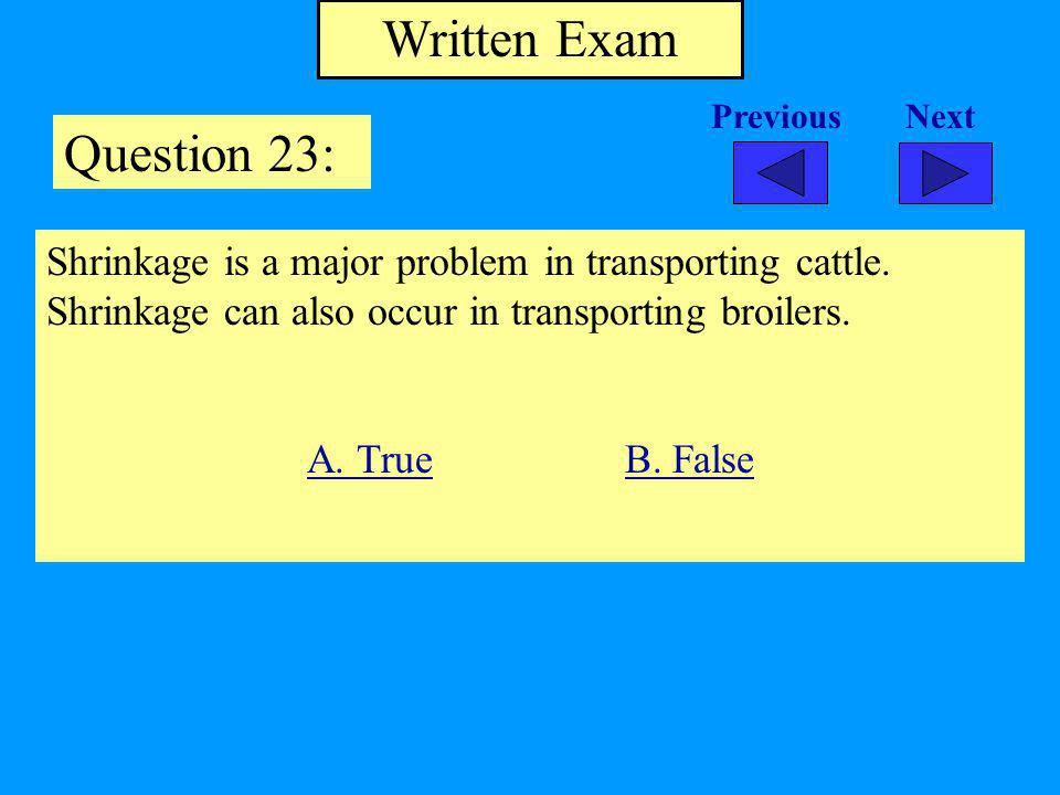 Written Exam Question 23: