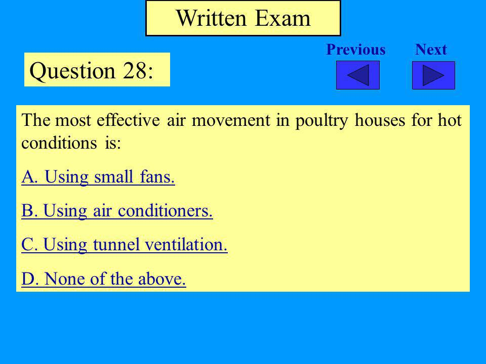 Written Exam Question 28: