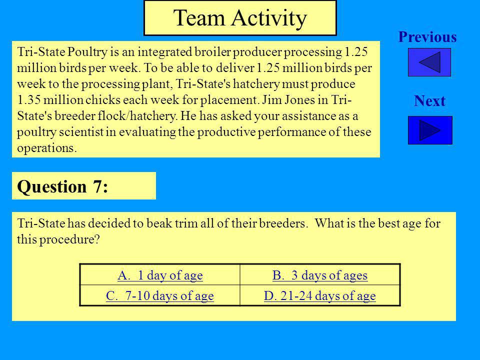 Team Activity Question 7: Previous Next