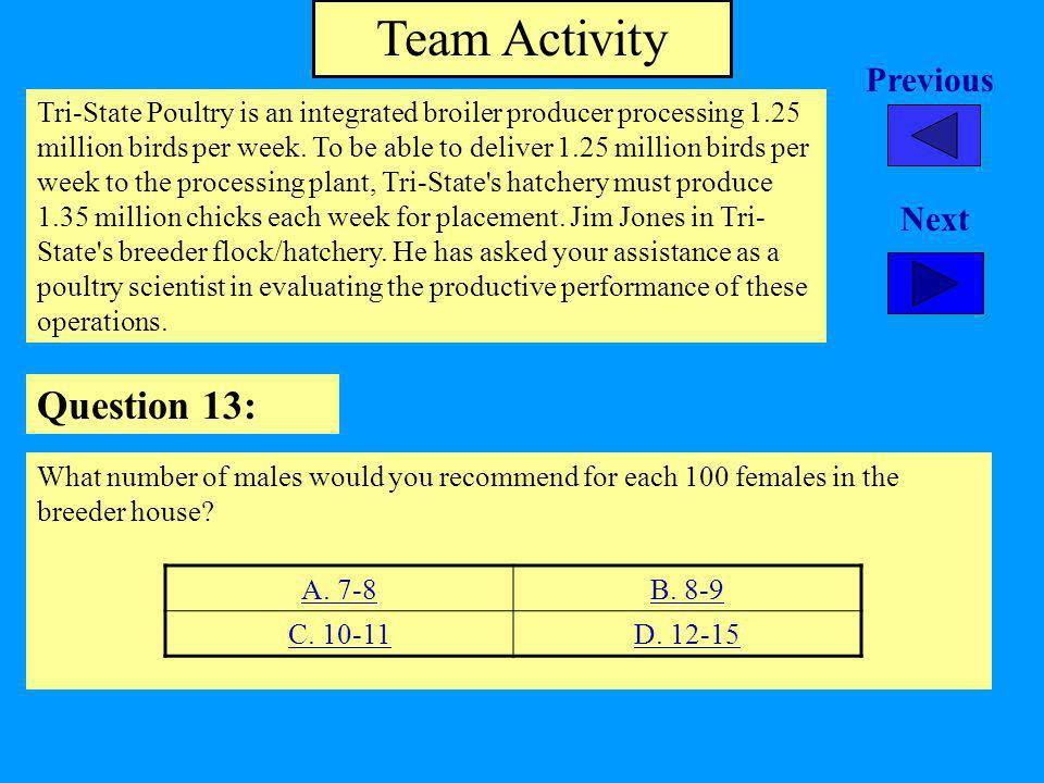 Team Activity Question 13: Previous Next