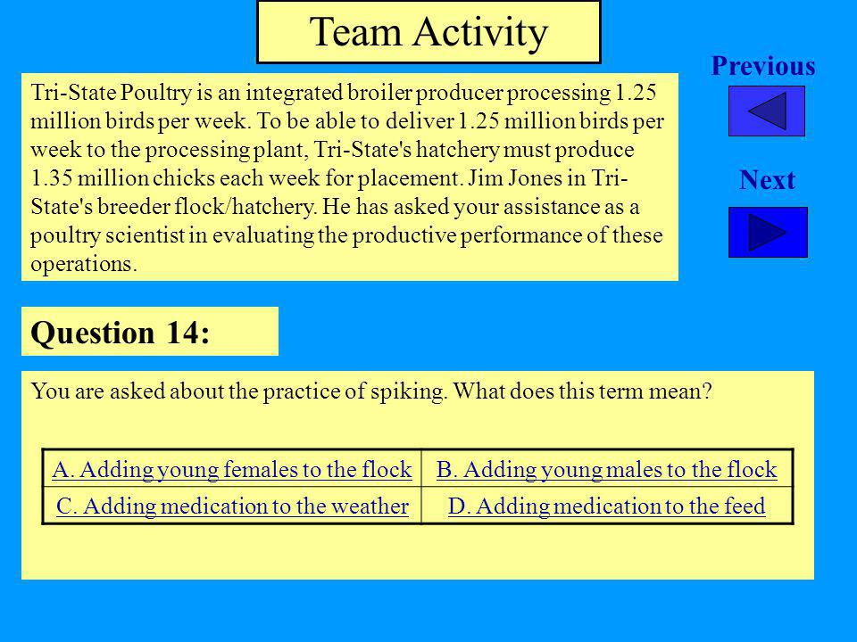 Team Activity Question 14: Previous Next
