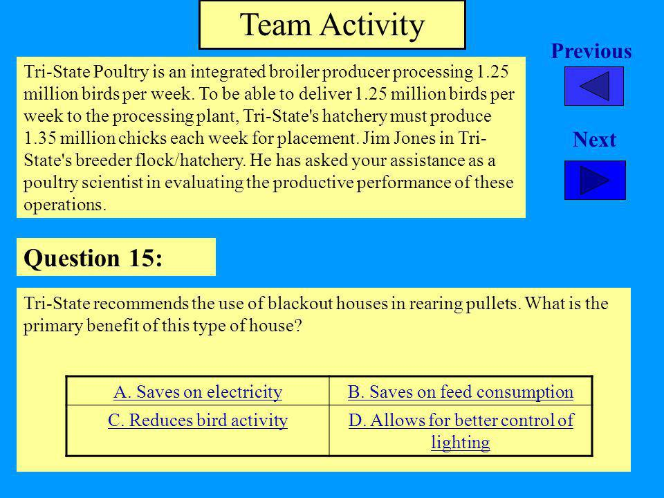 Team Activity Question 15: Previous Next