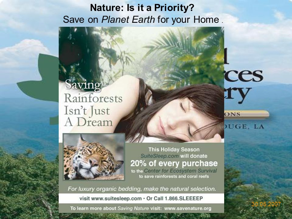 Nature: Is it a Priority Save on Planet Earth for your Home .