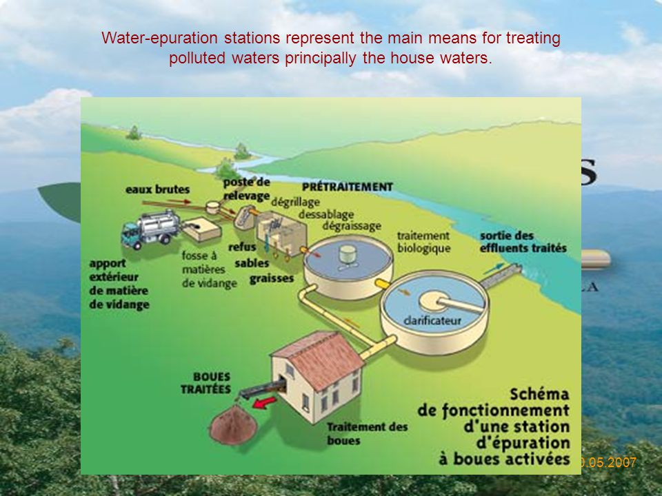Water-epuration stations represent the main means for treating polluted waters principally the house waters.