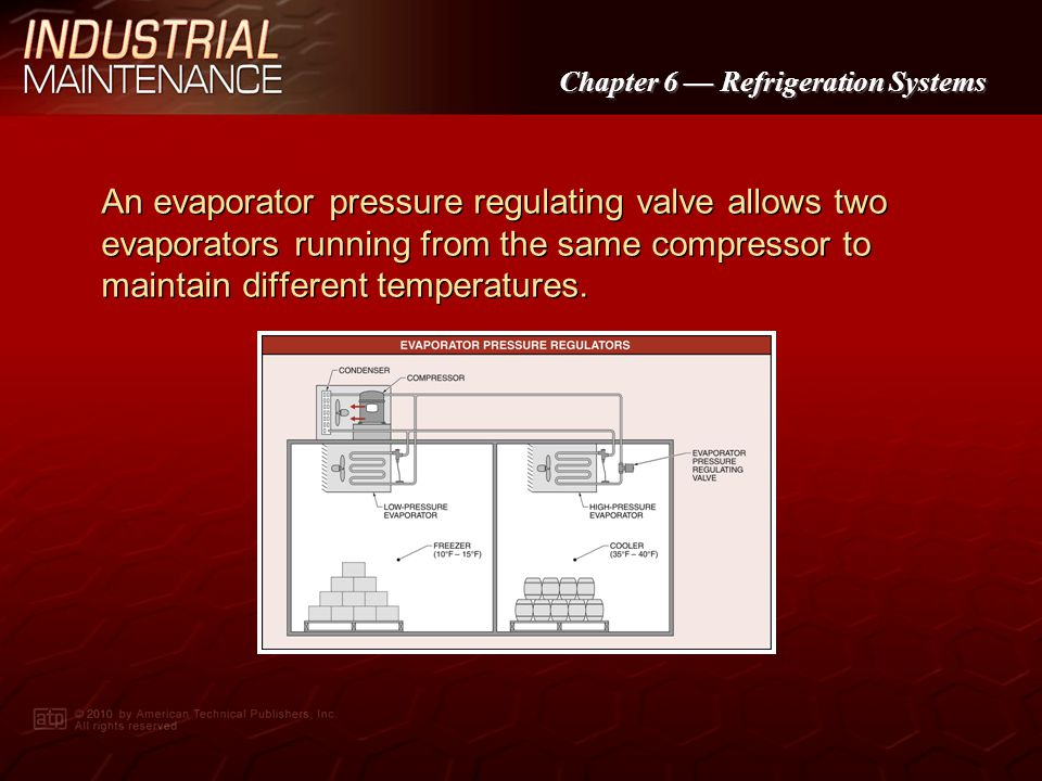 An evaporator pressure regulating valve allows two evaporators running from the same compressor to maintain different temperatures.