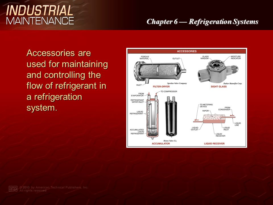 Accessories are used for maintaining and controlling the flow of refrigerant in a refrigeration system.