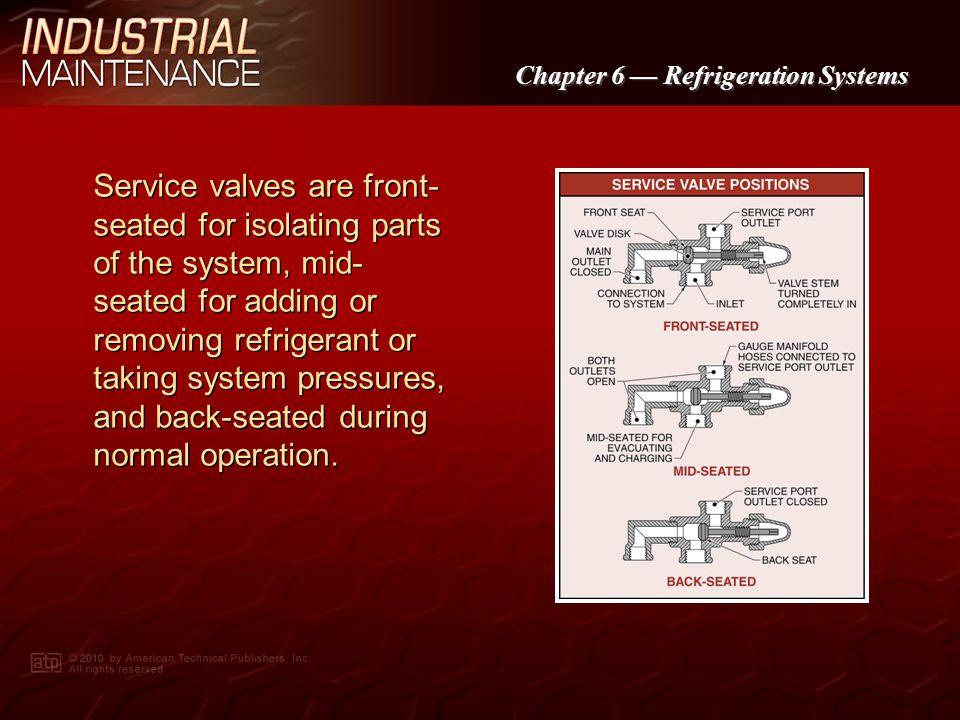 Service valves are front-seated for isolating parts of the system, mid-seated for adding or removing refrigerant or taking system pressures, and back-seated during normal operation.