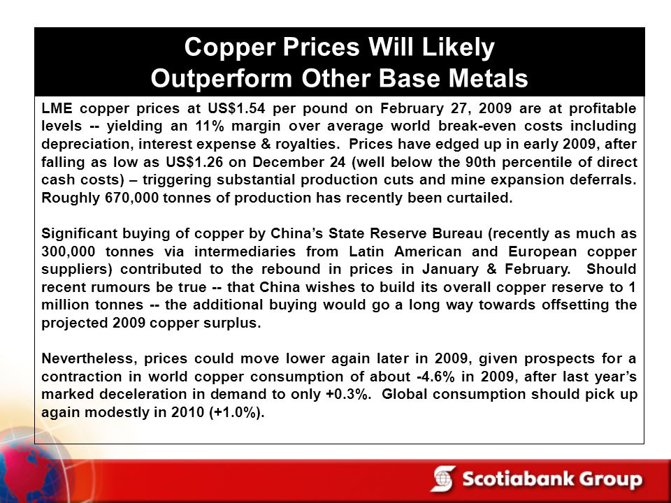 Copper Prices Will Likely Outperform Other Base Metals