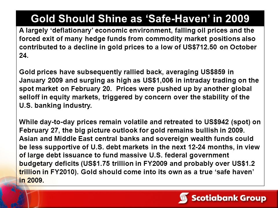 Gold Should Shine as 'Safe-Haven' in 2009
