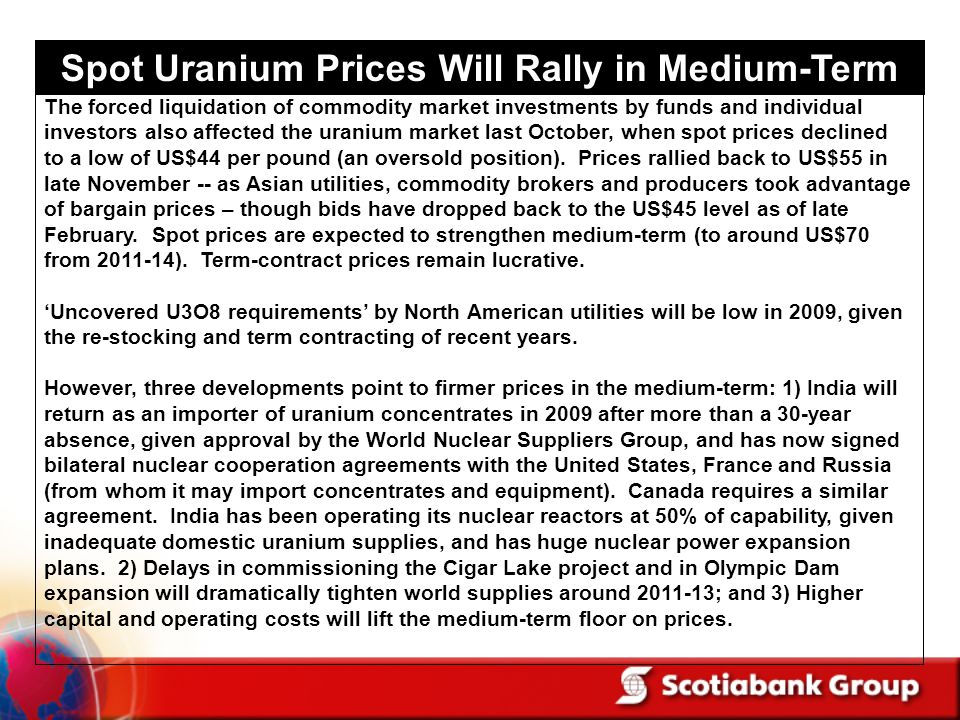 Spot Uranium Prices Will Rally in Medium-Term