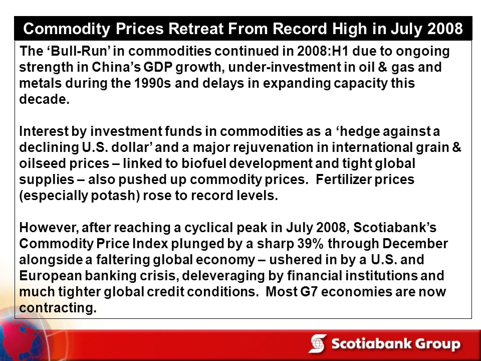 Commodity Prices Retreat From Record High in July 2008