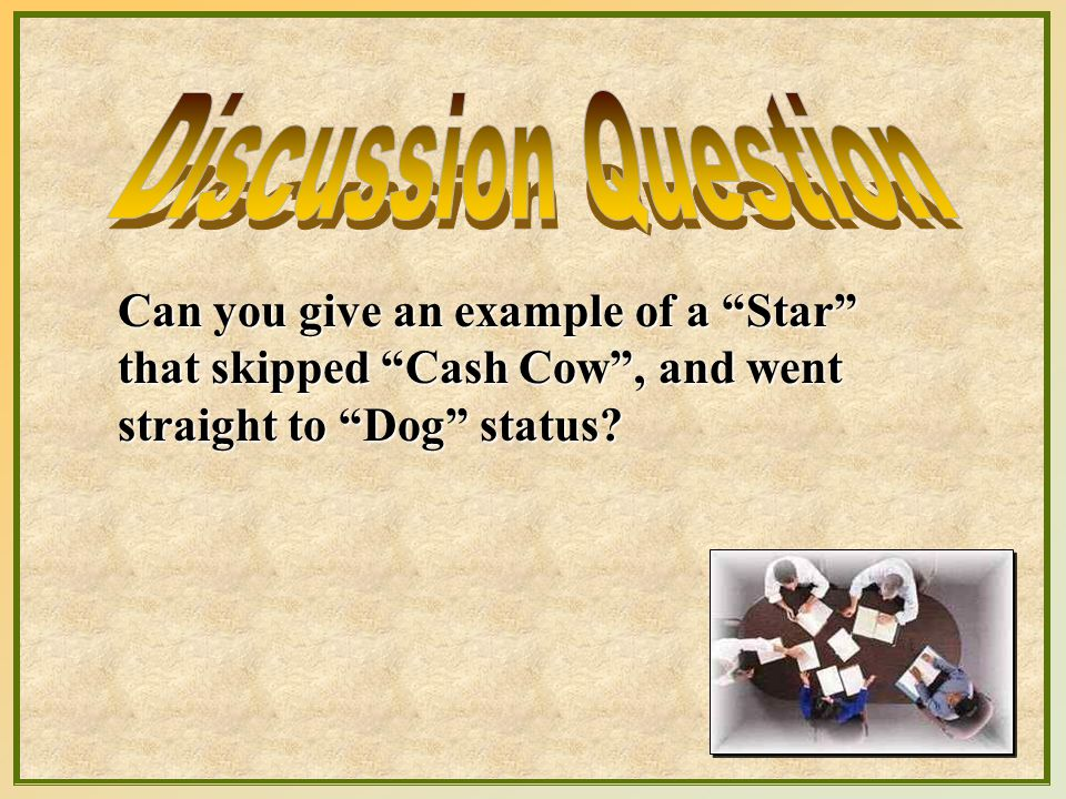 Discussion Question Can you give an example of a Star that skipped Cash Cow , and went straight to Dog status