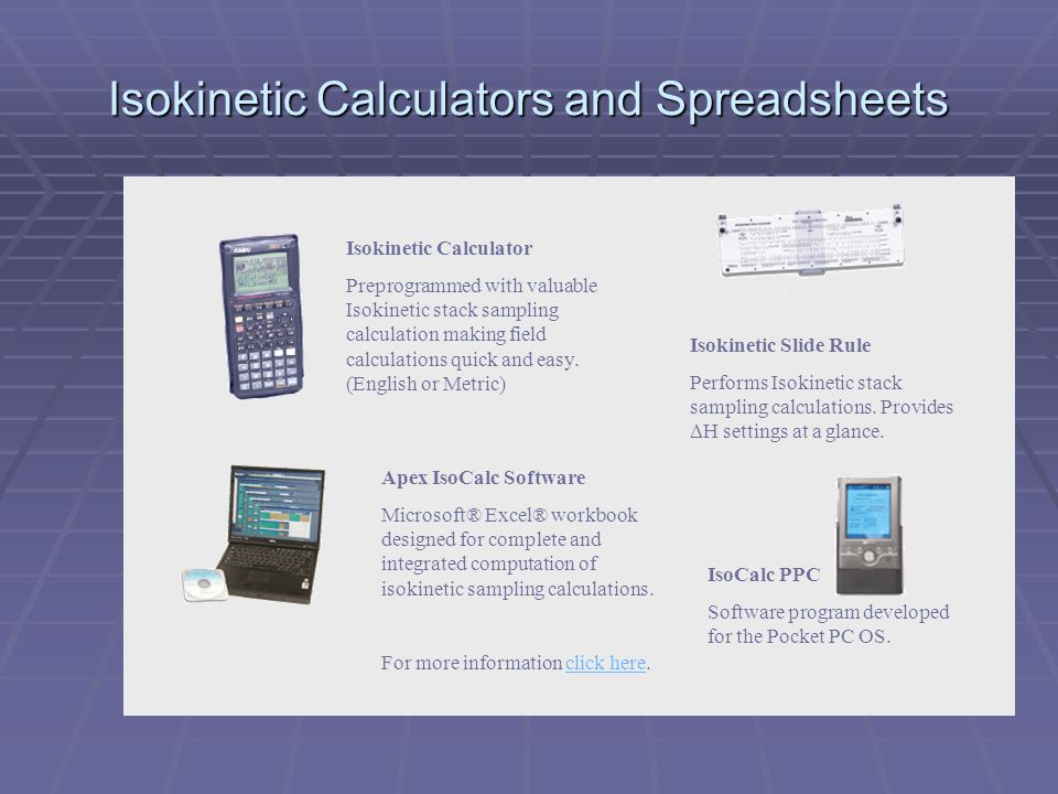 Isokinetic Calculators and Spreadsheets