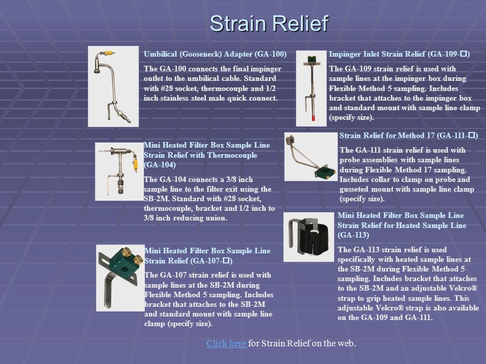 Click here for Strain Relief on the web.