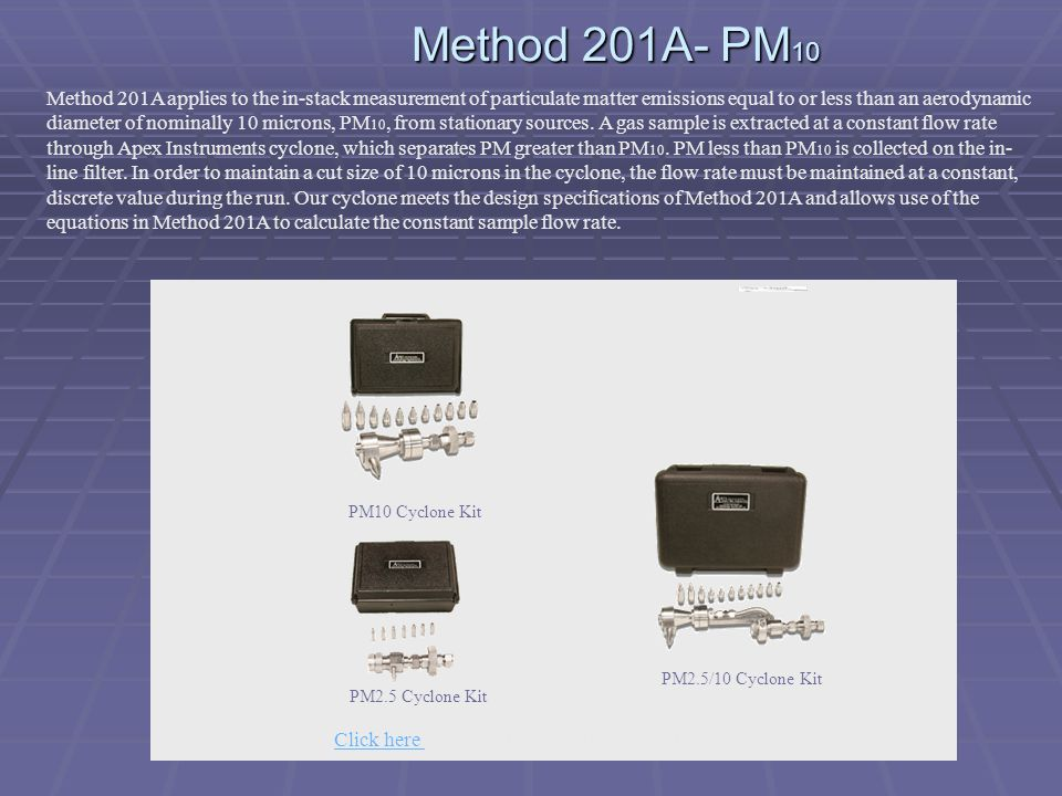 Click here to go to Method 201A and PM10 on the web.