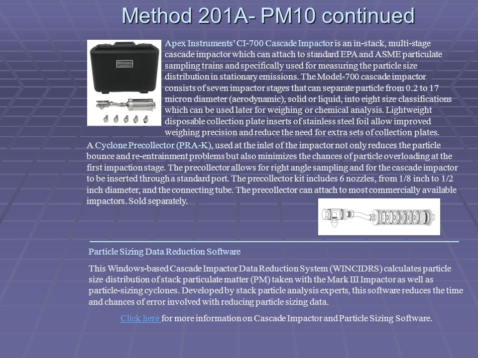 Method 201A- PM10 continued