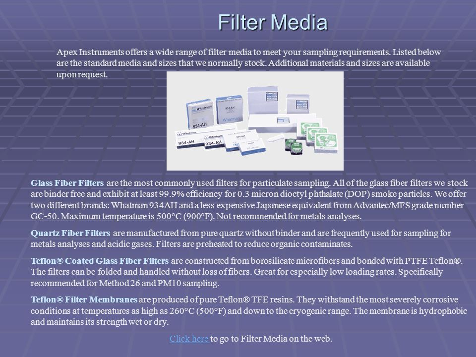 Click here to go to Filter Media on the web.