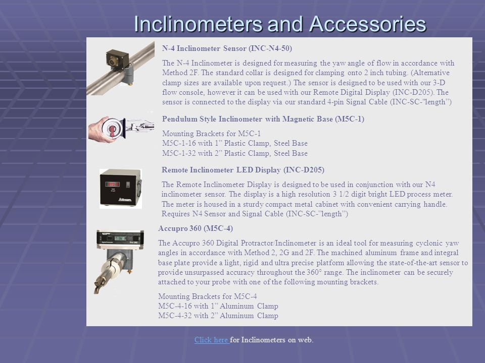 Inclinometers and Accessories