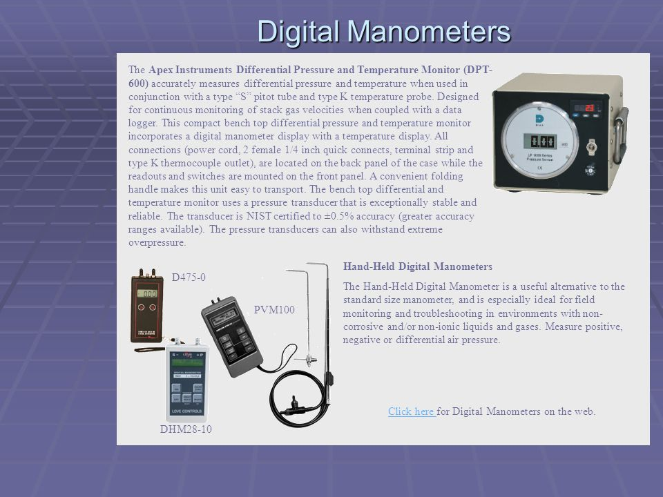 Click here for Digital Manometers on the web.
