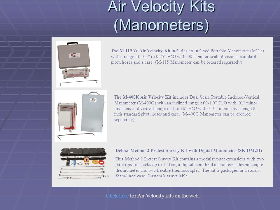 Air Velocity Kits (Manometers)