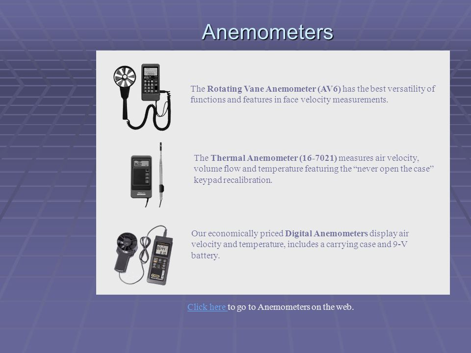 Click here to go to Anemometers on the web.