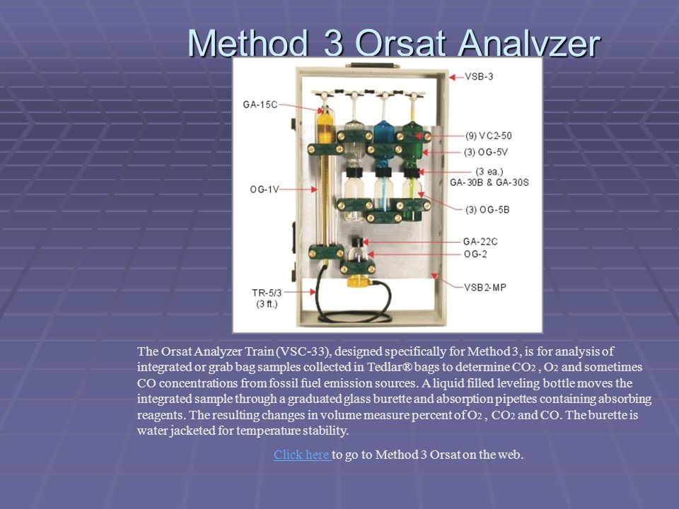 Click here to go to Method 3 Orsat on the web.