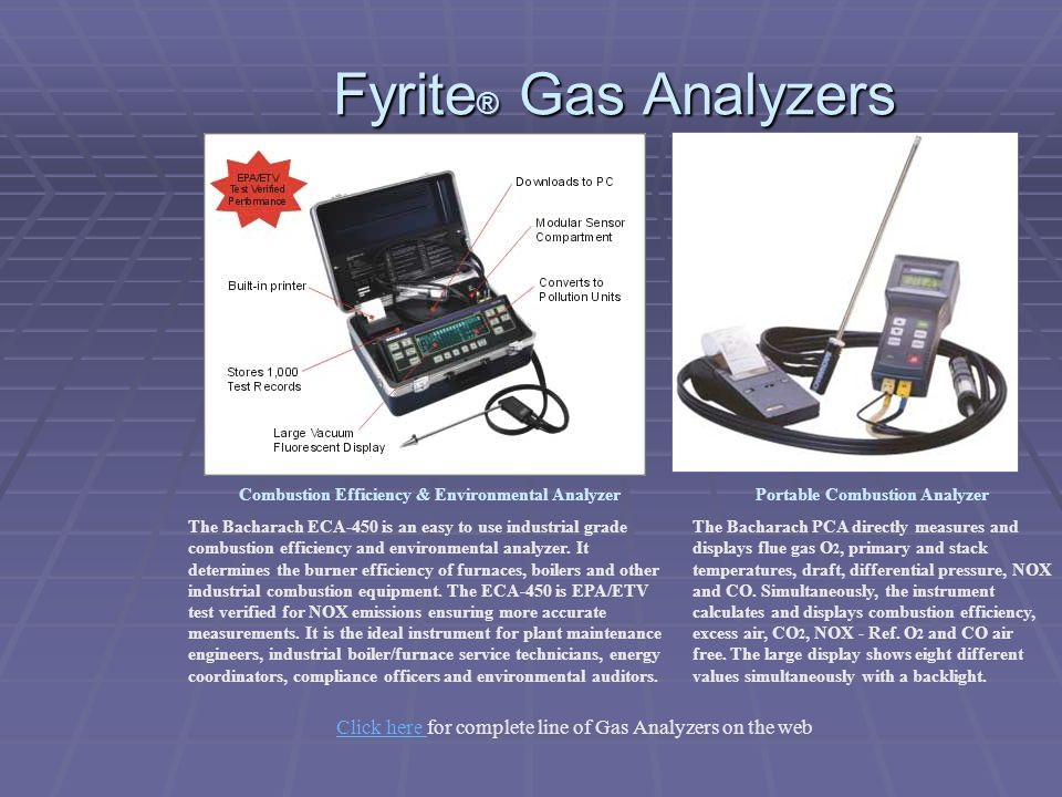 Fyrite® Gas Analyzers Combustion Efficiency & Environmental Analyzer.