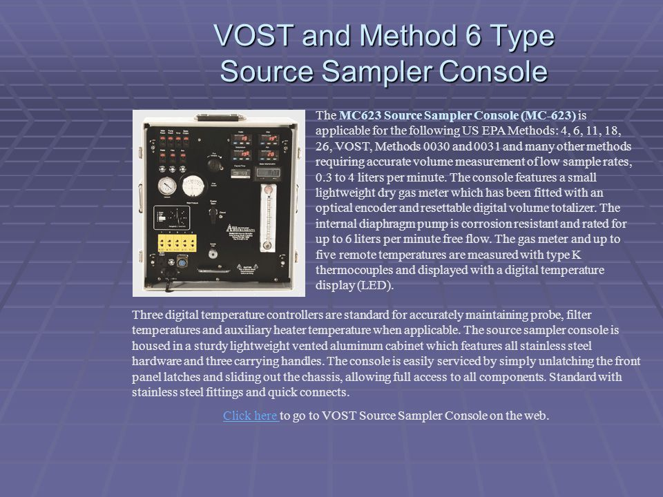 VOST and Method 6 Type Source Sampler Console