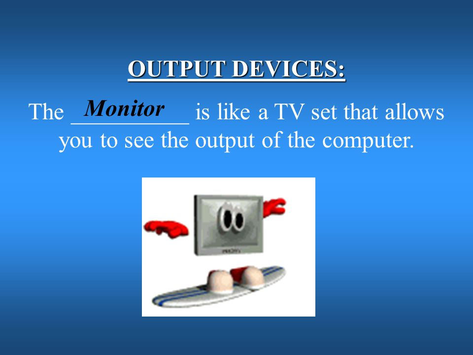 OUTPUT DEVICES: The __________ is like a TV set that allows you to see the output of the computer.