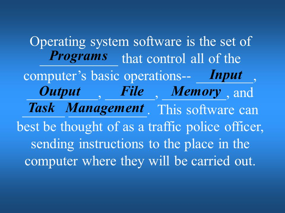 Operating system software is the set of ___________ that control all of the computer's basic operations-- ________, __________, _______, _________, and ______ ___________. This software can best be thought of as a traffic police officer, sending instructions to the place in the computer where they will be carried out.
