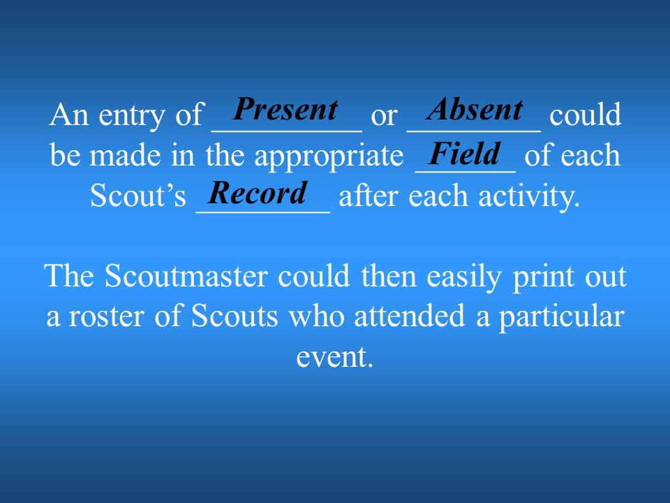 Present Absent. An entry of _________ or ________ could be made in the appropriate ______ of each Scout's ________ after each activity.