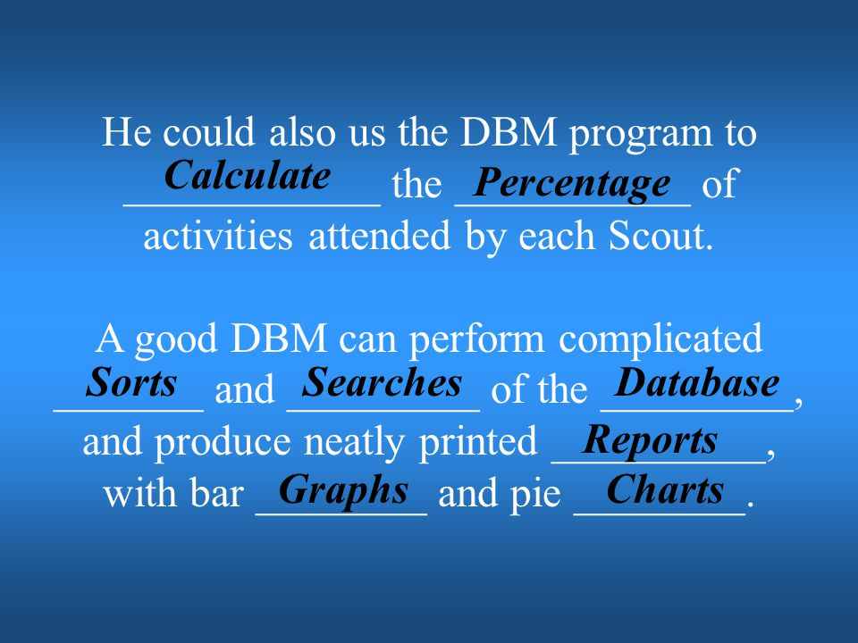 He could also us the DBM program to ____________ the ___________ of activities attended by each Scout.