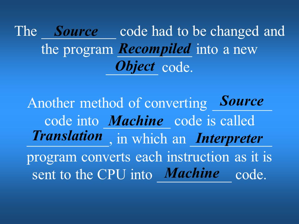The __________ code had to be changed and the program __________ into a new _______ code.