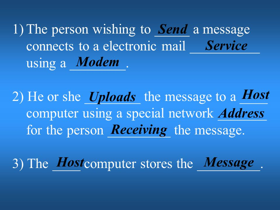 The person wishing to _____ a message connects to a electronic mail __________ using a ________.