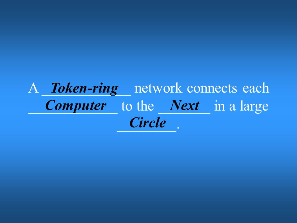 A ____________ network connects each ____________ to the _______ in a large ________.