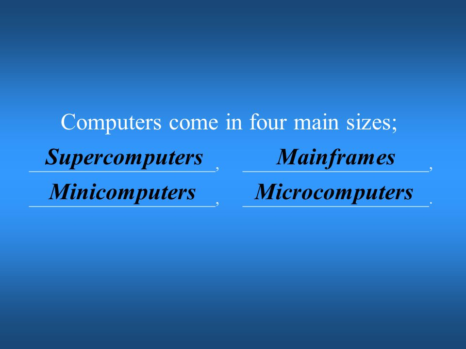 Supercomputers Mainframes Minicomputers Microcomputers