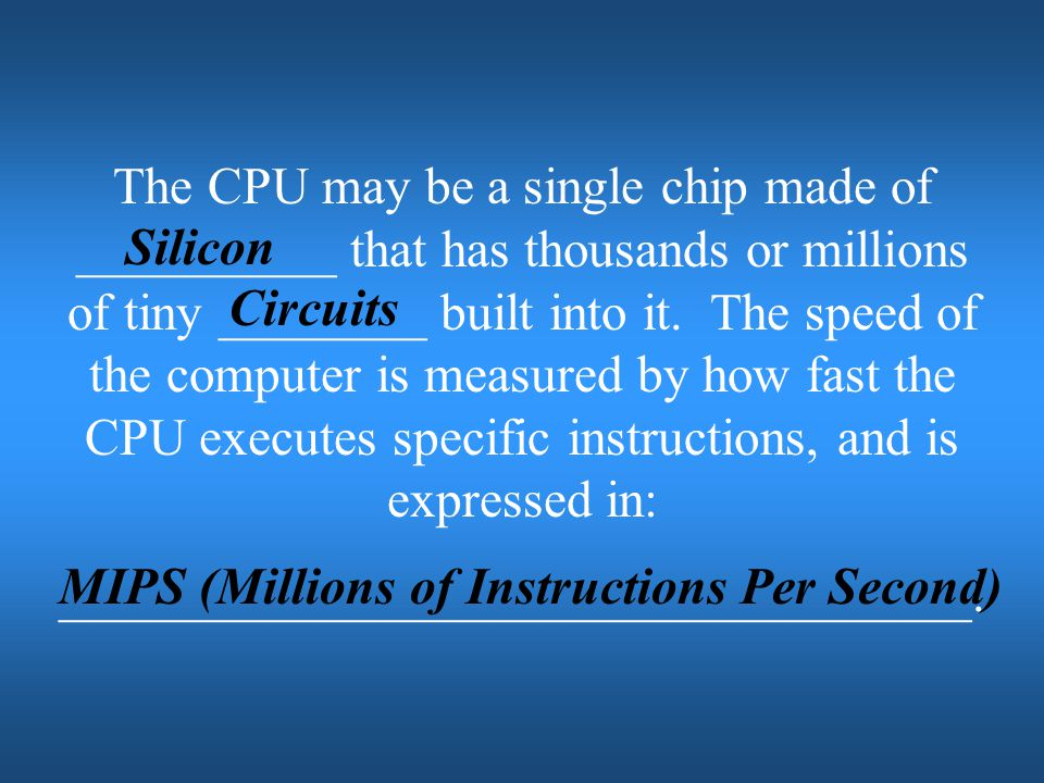 MIPS (Millions of Instructions Per Second)
