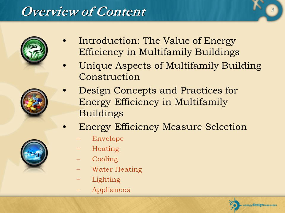 Overview of Content Introduction: The Value of Energy Efficiency in Multifamily Buildings. Unique Aspects of Multifamily Building Construction.